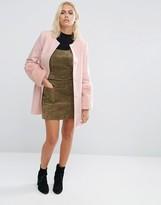 Helene Berman Faux Fur Cuff Coat In Pink
