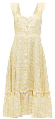 Gioia Bini Camilla Ruffle-trimmed Linen Dress - Womens - Yellow