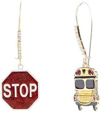 Betsey Johnson School Bus Shepherd's Hook Earrings (Red) Earring