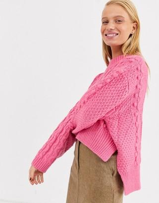 ASOS crop bobble cable knit