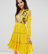 Frock And Frill Tall Cold Shoulder Velvet Smock Dress With Floral Embroidery