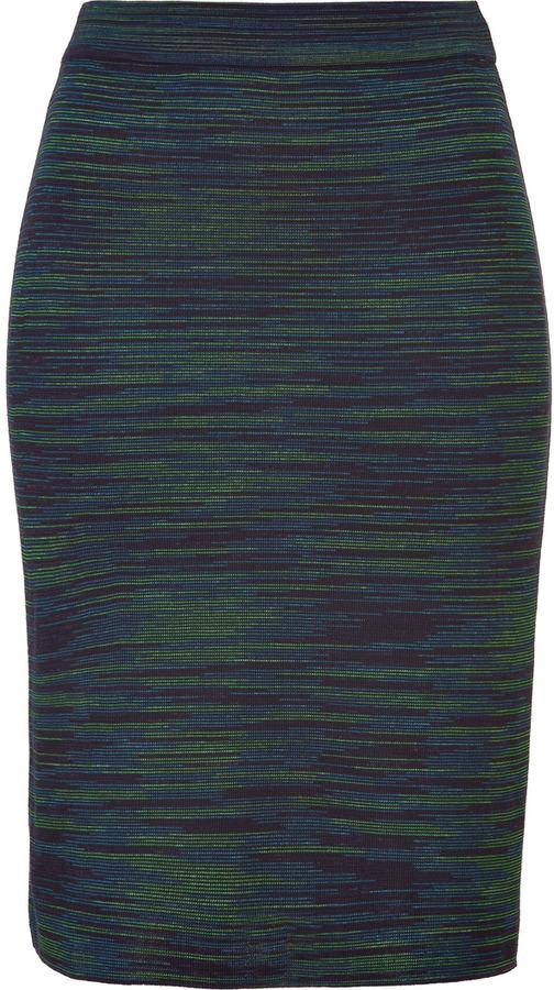 M Missoni Petrol/Apple Patterned Knit Skirt