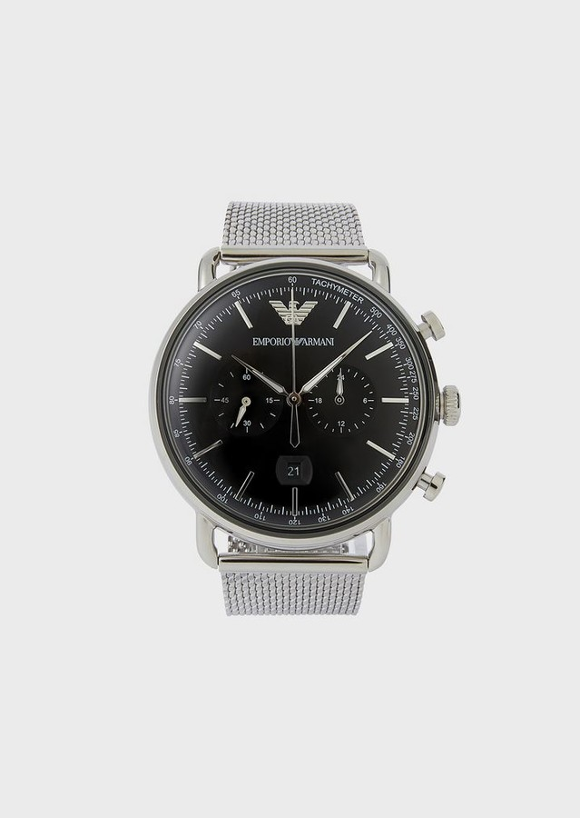 Emporio Armani Stopwatch In Stainless Steel 11104