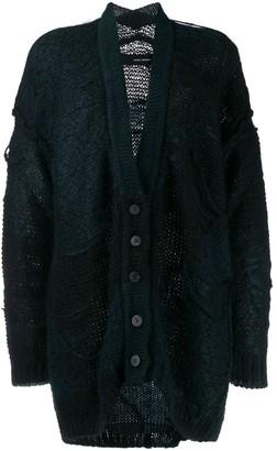 Isabel Benenato distressed V-neck cardi-coat