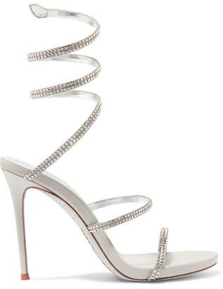 Rene Caovilla Cleo Crystal-embellished Metallic Leather Sandals - Silver