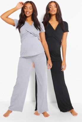 boohoo Maternity 2Pk Wrap Nursing Pajama Pants Set