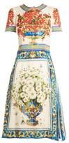 Dolce & Gabbana Majolica-print short-sleeved charmeuse midi dress