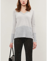 Duffy Cashmere knitted metallic V-neck jumper
