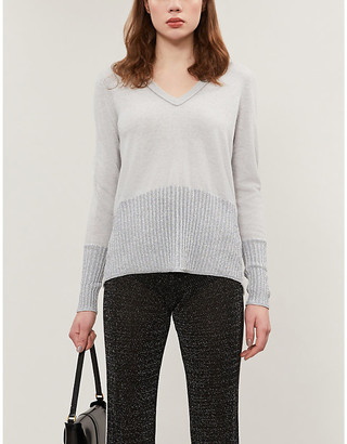 Selfridges Cashmere knitted metallic V-neck jumper