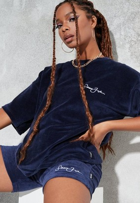 Missguided Sean John X Navy Velour Oversized T Shirt