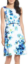 Adrianna Papell Petite Women's Floral Print With Mesh Inset Fit & Flare Dress