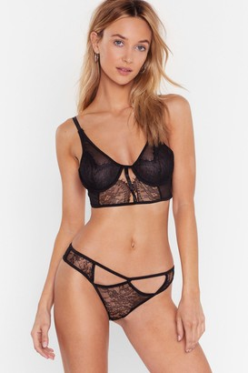 Nasty Gal Womens Cut-Out for the Night Lace Bralette and Panty Set - Black