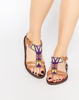Park Lane Geo-Tribal Bead Leather Flat Sandals