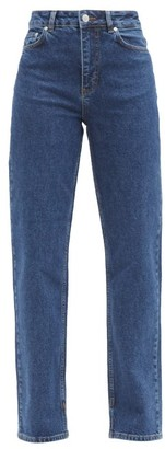 Ganni Logo-print High-rise Straight-leg Jeans - Denim