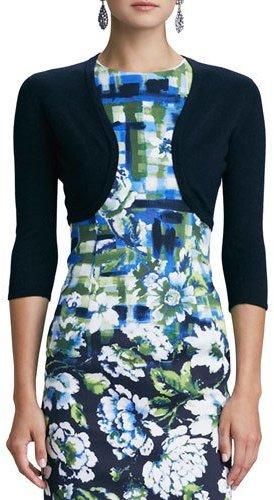 Oscar de la Renta 3/4-Sleeve Cashmere/Silk Knit Bolero Cardigan, Navy