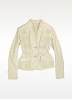Ivory Detailed Insets Italian Leather Jacket