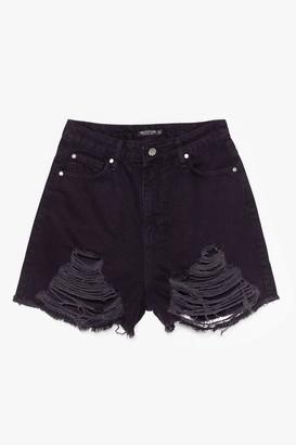 Nasty Gal Womens Rip 'Em to Shreds Distressed Denim Shorts - Black - 10