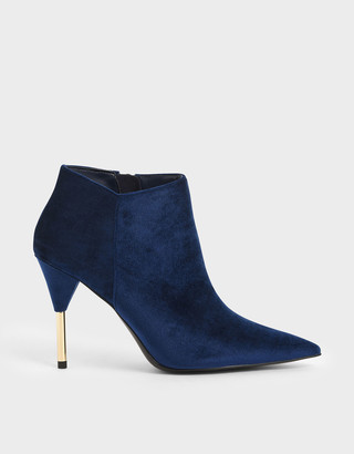 Charles & Keith Velvet Metallic Stiletto Heel Ankle Boots