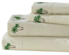 Seaside Resort Palm Tree Grove Embroidered Sheet Set, Queen Bedding