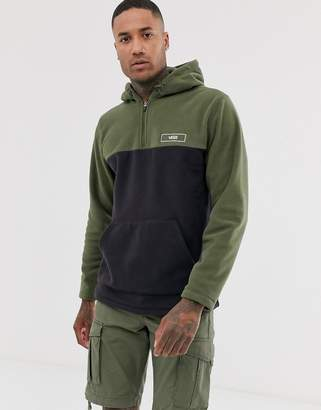 Vans 1/4 zip hoodie in khaki-Black