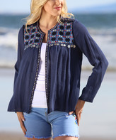 Ananda's Collection Women's Cardigans Navy - Navy Embroidered-Yoke Cardigan - Women