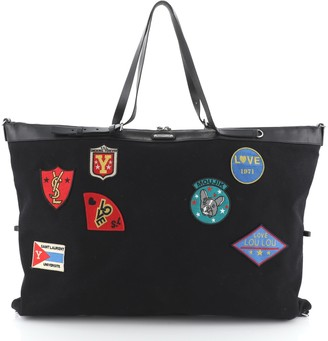 Saint Laurent ID Convertible Bag Patch Embellished Canvas Large