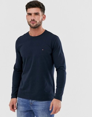 Tommy Hilfiger slim fit classic logo long sleeve t-shirt in navy