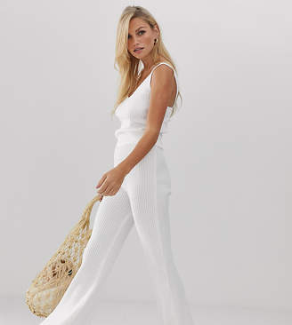 Micha Lounge high waist flare trousers in rib knit co-ord-White