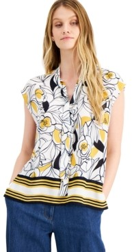 Bar III Floral-Print Cap-Sleeve Tie-Neck Top, Created for Macy's