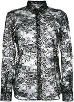 Saint Laurent lace glitter detail top - women - Cotton/Polyamide - 38
