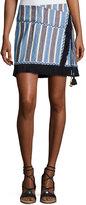 Figue Lillian Fringed Wrap Skirt, White/Multi