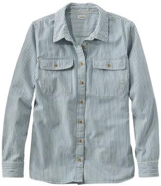 L.L. Bean Women's Heritage Washed Denim Shirt, Long-Sleeve Stripe