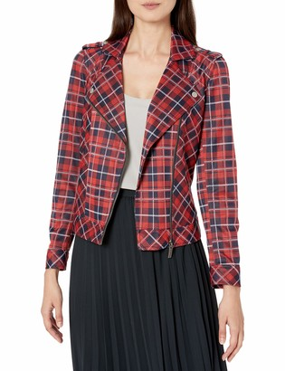 Vince Camuto Women's Knit Plaid Moto Jacket