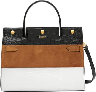 Burberry Small Title Mixed Leather Stripe Bag