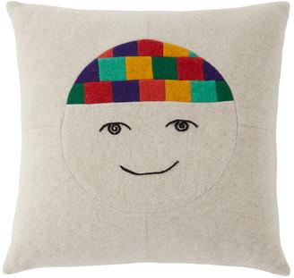 The Elder Statesman Off-White Cashmere Face Pillow