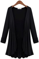 Lusiyu Women's Loose Fit Long Sleeve Draped Cardigan Plus Size High Low Hem (5XL, )