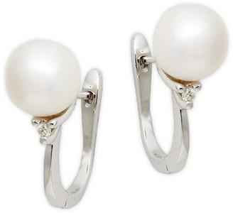 BELPEARL 14K White Gold, White Akoya Pearl Diamond Earrings
