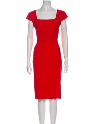 Roland Mouret Square Neckline Knee-Length Dress Orange