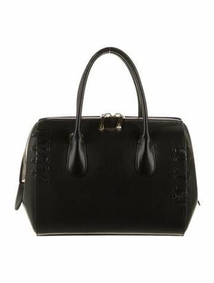 Nina Ricci Braided-Accent Leather Handle Bag Black