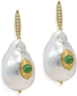 Vintouch Italy The Eye Pearl & Emerald Earrings