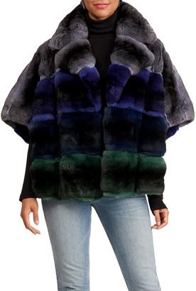 Gianfranco Ferre Horizontal Chinchilla Fur Jacket W/ Short Sleeves