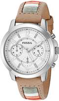 Fossil Women's Quartz Stainless Steel and Leather Automatic Watch, Color:Brown (Model: ES4085)