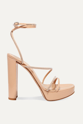 Gianvito Rossi 125 Crystal-embellished Patent-leather Platform Sandals - Neutral