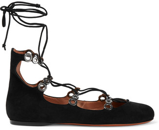 Alaia Lace-up Eyelet-embellished Suede Ballet Flats
