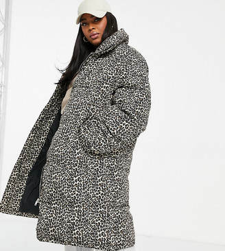 Sixth June Plus oversized puffer jacket in leopard print