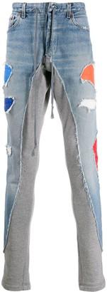 Greg Lauren Low Slung Zipped Jeans