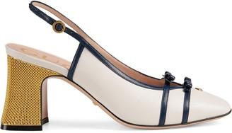 Gucci Leather mid-heel slingback pump