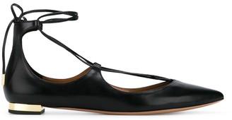 Aquazzura Black Christie Leather Ballet Flats
