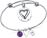 "Unwritten Unwrittten ""Grandma You Are Always Loved"" Charm and Amethyst (8mm) Bracelet in Stainless Steel"