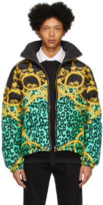 Versace Reversible Black and Green Chain Print Puffer Jacket